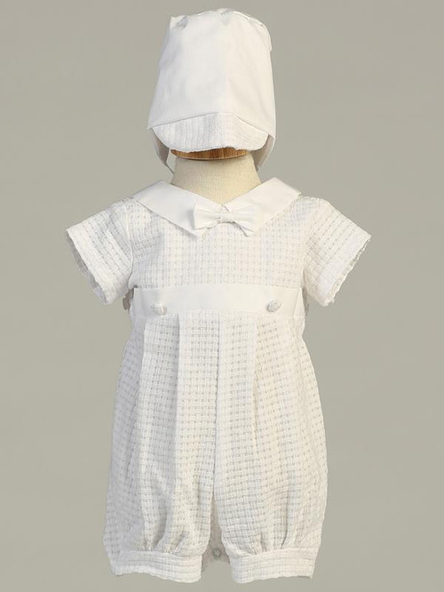 Mason ~ Cotton weaved romper with detachable gown. This heirloom christening outfit can be worn as a romper or a gown.  This is the image of the romper under the gown.  Sizes : 0-3m, 3-6m, 6-12m, 12-18months. Made in USA