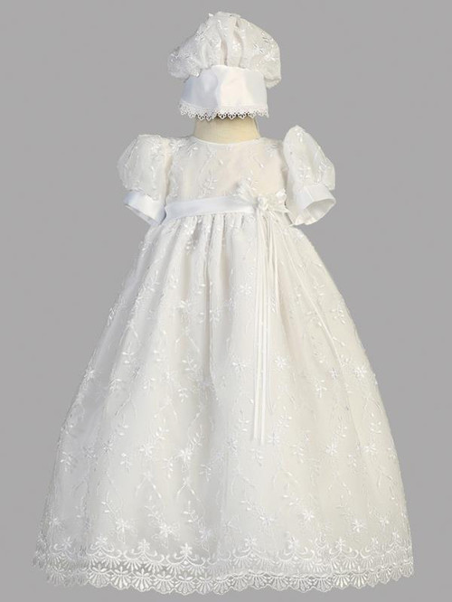 Emma ~ Embroidered tulle gown with bonnet. Made in USA