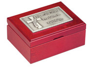 """Deacon's Keepsake Box-The perfect gift for Ordination or remembering your Parish Deacon. New Size. 4-1/2"""" x 6"""". Finely crafted cherry wood keepsake box with plush velvet lining. Features hinged lid and notched opening with magnetic closure. Deacon's keepsake top is solid cast pewter, antiqued and polished. Inscribed """"Hear the Word, Proclaim it Faithfully"""". Engraving plate included"""