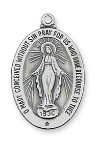 """Sterling Silver Miraculous Medal comes on a 20"""" Rhodium Plated Chain. Dimensions: 1 """" x 5/8"""".  Deluxe Gift Box Included"""
