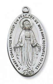 "1 5/16""L Sterling Silver Miraculous Medal comes on a 24"" Rhodium Plated Chain. Deluxe Gift Box is Included"