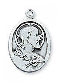 "3/4"" Sterling Silver Scapular Medal. 20"" Rhodium Plated Chain. Deluxe Gift Box Included"