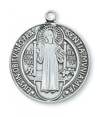 Saint Benedict Medal Sterling Silver 24in Chain
