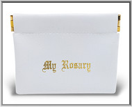 "White Rosary Squeeze Pouch ~ Pouch measures 3"" x 3.25"" and is made of a vinyl leatherette.  Rosary is not Included"