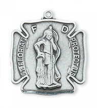 "Sterling Silver Saint Florian Medal. Saint Florian is the Patron Saint of Firefighters. St Florian Stainless Steel 1 1/16""L Medal comes on a 24"" Rhodium Plated Chain.  A deluxe gift box is included."