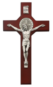 "10 1/2"" Cherry Stained St. Benedict Crucifix with Silver Corpus. Packaged in a deluxe gift box"