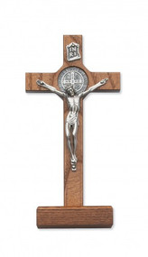 "8"" walnut stained standing St. Benedict Crucifix"