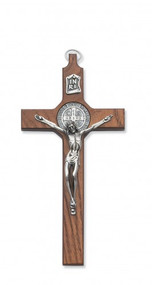 "6.5"" Walnut Stained St. Benedict Wall Crucifix with Silver Corpus. Packaged in a deluxe gift box"