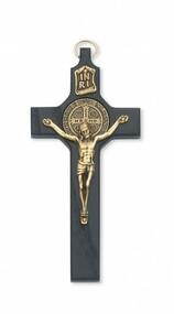 "6. 1/4"""" Black St. Benedict Wall Crucifix with Gold Corpus. Packaged in a deluxe gift box"
