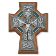 Walnut Stained, Wood and Pewter Wall Crucifix