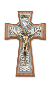 "8 1/4"" Walnut Stained Celtic Crucifix. Packaged in a deluxe gift box"