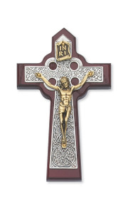 "5 3/4"" Dark Cherry Stained Celtic Crucifix. Packaged in a deluxe gift box"