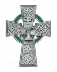 """First Holy Communion Celtic Wall Cross. 4 3/4"""" Pewter Celtic Cross with Green Enamel. Bread and Chalice adorn the center of the wall cross. Packaged in a deluxe gift box"""
