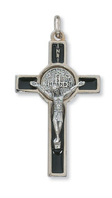 "2"" Black Enamel St. Benedict Crucifix Pendant. Includes a leather cord and is packaged in a deluxe gift box."