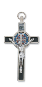 "3"" Silver with Black Enamel with Blue and Red Enamel Center St. Benedict Crucifix Pendant. Includes a leather cord and is packaged in a deluxe gift box."