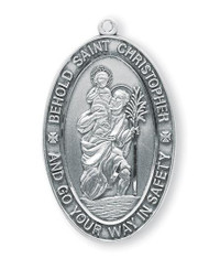 "7/8"" St. Christopher Medal with 24"" Chain. Medals are all sterling silver with a genuine rhodium-plated, stainless steel chain. Comes in a deluxe velour gift box. Prices subject to change without notice."