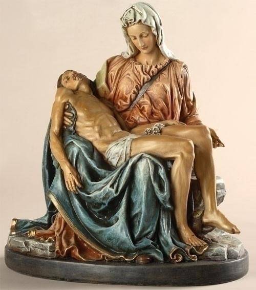 "Joseph Studio-Renaissance Collection Pieta figure Resin-Stone Mix. Dimensions: 10""H x 8.75""W x 5.625""D."