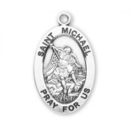 "This St. Michael Sterling silver 7/8"" oval medal comes with a 20"" genuine rhodium plated curb chain. Medal comes in a deluxe velour gift box. Engraving option available. Made in the USA. Saint Michael the Archangel is the Patron Saint of Police, Law Enforcement."