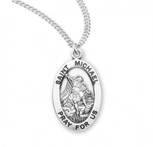 """This St. Michael Sterling silver 7/8"""" oval medal comes with a 20"""" genuine rhodium plated curb chain."""