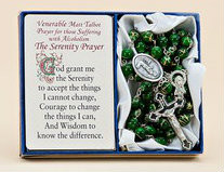 """Venerable Matt Talbot ~ Pray for those suffering from Alcoholism. This 20"""" rosary features green glass beads with a touch of gold and has a crucifix with Venerable Matt Talbot medal attached. Serenity Prayer Card is included. A  great comfort gift for those suffering with alcoholism."""