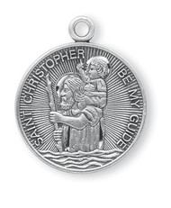 "1"" St. Christopher Medal with 24"" Chain. Medals are all sterling silver with a genuine rhodium-plated, stainless steel chain. All metals come in a deluxe velour gift box. Engraving option available"
