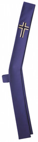 "Deacon Stole shown in Indigo Color- Available in all Liturgical Colors Stole Measures: 5"" wide by 26"" from shoulders to hip and 26"" from hip to bottom"