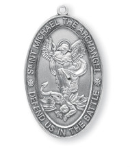 "1.4"" x 0.8"" St. Michael Oval .925 Sterling Silver Medal. Medal comes on a 24"" Genuine rhodium plated endless curb chain.  Comes in a deluxe velour gift box. Engraving Available. Made in the USA!"