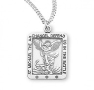 "The square medal comes on a 20"" genuine rhodium plated curb change and is made in the USA! Dimensions: 0.9"" x 0.6"" (22mm x"