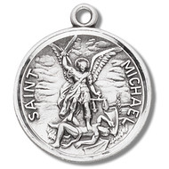 "St. Michael Sterling Silver Round Medal. Dimensions: 0.9"" x 0.8"" (23mm x 20mm). This medal 925 solid sterling silver medal depicting St Michael defeating the devil comes on  a 24"" genuine rhodium plated endless curb chain. Medal comes in a deluxe velour gift box"