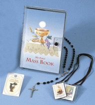 Boys-Makes a beautiful, affordable gift for the First Communicant! Comes in Vinyl Case. Gift Set includes: Hardcover Pocket Missal, Rosary w/Chalice Centerpiece, Rosary Case, Scapular, First Communion Lapel Pin, Clear Vinyl Keepsake Case