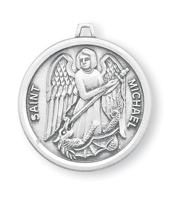 """St. Michael Sterling Silver Round Medal. Dimensions: 0.9"""" x 0.8"""" (23mm x 21mm.) Medal is .925 solid sterling silver with a genuine 24"""" genuine rhodium-plated, endless curb chain.  Medal comes in a deluxe velour gift box and is made in the USA! Engraving Available"""