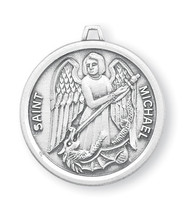 """St. Michael Sterling Silver Round Medal. Dimensions: 0.9"""" x 0.8"""" (23mm x 21mm.) Medal is .925 solid sterling silver with a genuine 24"""" genuine rhodium-plated, endless curb chain. Weight of medal: 4.0 Grams.  Medal comes in a deluxe velour gift box and is made in the USA! Engraving Available"""