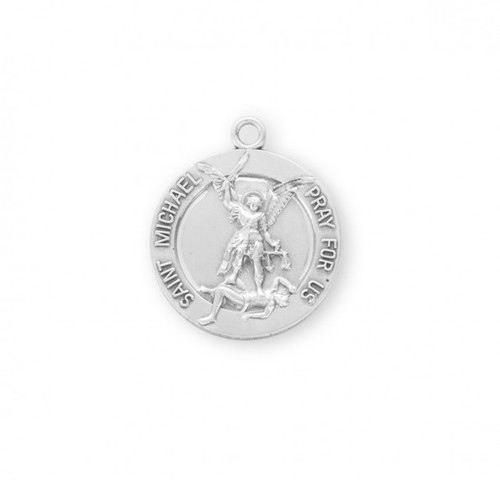 "Sterling Silver (Dimensions:1.5"" x 0.8"")   St. Michael medal depicts the Archangel defeating the devil. St. Michael is the patron saint of Police, and Law Enforcement. The St. Michael medal comes with a 24"" genuine rhodium-plated, endless curb chain. Medal comes in a deluxe velour gift box and is made in the USA."