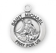 "St Michael Round Sterling Silver Medal. The dimensions are 18mm (0.7""). Medal comes with n 18 genuine rhodium plated curb chain and is made in the USA. Medal comes in a deluxe velour gift box.  Engraving available."