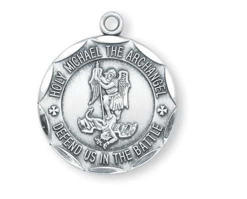 """1"""" Round St. Michael Military Medal  """"St. Michael the Archangel, Defend Us in Battle"""" ~ inscribed around edge of medal. Medal is sterling silver with a genuine rhodium-plated 24"""" chain. Deluxe velour gift box included. Engraving available. Made in the USA!"""