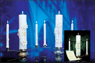 "Holy Matrimony Unity Candle Ensemble. ""SCULPTWAX"" Raised Wax Design will add to your wedding or reception.  It comes in an attractive gift box making it suitable for a bridal shower or anniversary! 4 Piece Ensemble includes ~Stand, Center Candle & Two Side Candles. Gold & Cream or Silver & White Candles. Side candles and center candle can be purchased separately."