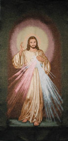 "Divine Mercy Woven Banner-Does NOT have ""Jesus I trust in You"" across the bottom of banner"