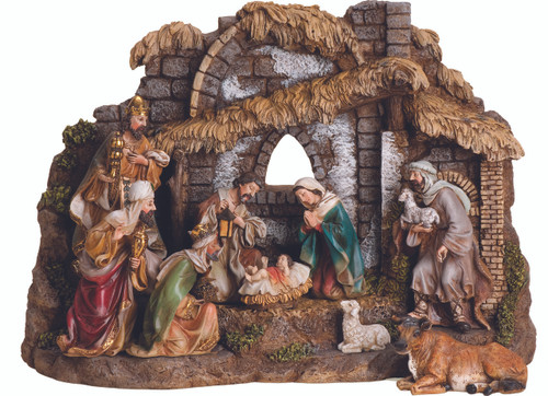 """This detailed nativity set and stable is the perfect Christmas decoration and allows for you to rearrange the nativity scene. This nativity set comes with 10 pieces and the stable. Enjoy the Christmas season with this nativity set. The stable is extremely detailed and unique. The ten piece set include baby Jesus, Mary, Joseph, the shepherd, the three wise men, and an ox and sheep. The set can be rearranged for different looks and is a great way to teach your kids about the nativity story.The nativity set is made of a resin and stone mix. Stable dimensions: 11""""H x 16""""W x 6.5""""D  with varying heights of the figures."""
