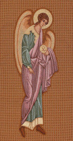 """44"""" x 100"""" woven church banner with Byzantine angel - St. Jude Shop"""
