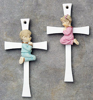 "5"" Polyresin Cross with Handpainted Praying Boy or Girl. This sweet handpainted polyresin cross with praying boy or girl comes gift boxed."