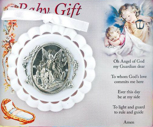 Guardian Angel Medal  Perfectly sized to hang over or on baby's crib Available in pink, blue, and white