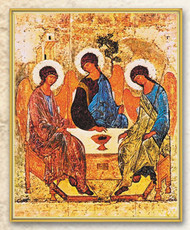 "Italian Art Byzantine Holy Trinity Icon. The Holy Trinity Icon measures 8"" x 10"". the Holy Trinity Icon is laminated with gold trim on a thick board. Gift Boxed"