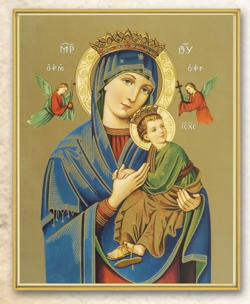 """Italian Art Byzantine Icon of Our Lady of Perpetual Help. This 8"""" x 10"""" icon of Our Lady of Perpetual Help comes with a clear laminate with gold trim on a thick board. Gift Boxed"""