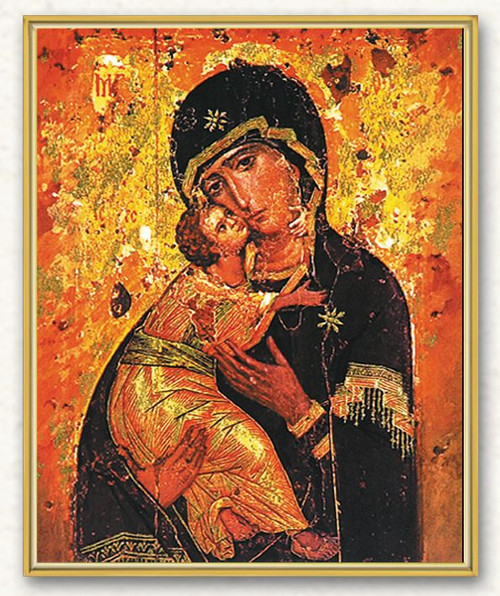 """Italian art plaque of Our Lady of Vladimir. Our Lady of Vladimir measures 8"""" x 10"""". the plaque is laminated and has gold trim on a thick board. Gift Boxed"""