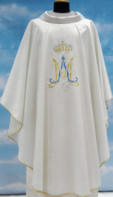 Chasuble in Papale lana, (95% pure wool, 5% silver thread) Marian symbol embroidered in front and back; inside stole.  These items are imported from Europe. Please supply your Institution's Federal ID # as to avoid an import tax. Please allow 3-4 weeks for delivery if item is not in stock