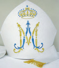 Arranged in a rich silver fabric with Marian symbol and crown embroidered. These items are imported from Europe. Please supply your Institution's Federal ID # as to avoid an import tax.. Please allow 3-4 weeks for delivery if item is not in stock