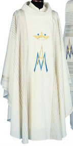 """Marian Chasuble """"Linea Style"""" fabric, (95% wool, 5% gold threads). Gold threads woven into the fabric. Includes inner stole. Measurements: 51"""" long, 63"""" wide.  These items are imported from Europe. Please supply your Institution's Federal ID # as to avoid an import tax. Please allow 3-4 weeks for delivery if item is not in stock"""