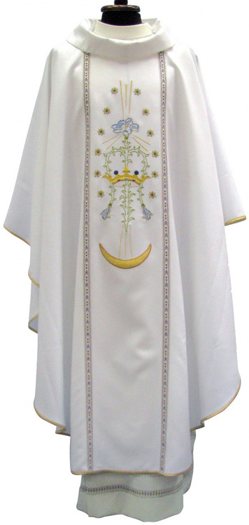 Chasuble in PRIMAVERA fabric (100% polyester). Chasuble with embroidery on front and Marian symbol on back. Includes inner stole. These items are imported from Europe. Please supply your Institution's Federal ID # as to avoid an import tax.  Please allow 3-4 weeks for delivery if item is not in stock.