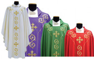 Chasuble in Lana Nodo Fabric (45% pure wool, 55% polyester) with square collar.  Features fully embroidered front and back.  Includes inside stole. These items are imported from Europe. Please supply your Institution's Federal ID # as to avoid an import tax.  Allow 3-4 weeks for delivery if item is not in stock