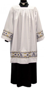 """Surplice in """"Misto Cotone Style"""" fabric, 40% cotton and 60% polyester, with Marian banding and square neck. Small 37.5"""", Medium 39"""", Large 41.5"""", X-Large 43"""".  These items are imported from Europe. Please supply your Intitution's Federal ID # as to avoid an import tax.  Please allow 3-4 weeks for delivery if item is not in stock"""